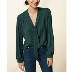 Amour Vert Elias tie-neck top in Darkest Spruce